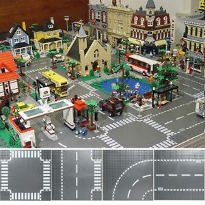 Building Blocks Base Plates Road Plate Straight Crossroad Curve Block LEGO Toy