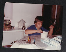 Vintage Photograph Young Boy Sitting at Table in Kichen Coloring Easter Eggs