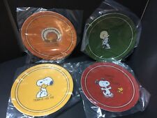 Pottery Barn Kids Thanksgiving Turkey Peanuts Snoopy Woodstock PLATE NEW Set 4
