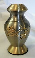 KEEPSAKE URN--PEWTER WITH GOLD LEAF ACCENTS--UNIQUE BEAUTY