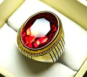 Oval Cut Antique Ring Ruby Silver Plated Solid Stunning US Size 9