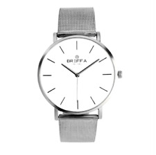 Briffa Men 40mm Lightweight Silver Steel mesh strap Analog Quartz Wrist Watch