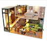 Wooden Dollhouse Miniatures DIY House Kit w/Cover LED Light for Kids Gifts Girls