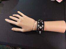 New Men Women Spikes Studs Faux Leather Black Bracelet