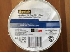 3M TAPES Scotch Aluminum Foil Tape, 3311, 2.83 In. W x 50 yd., Silver - 1028584