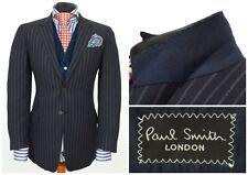 Mens Paul Smith The Byard Suit Blazer Jacket Striped Blue Wool Size EU48 / UK38