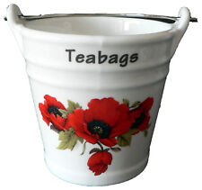 Poppy teabag tidy Bucket, decorated with poppies poppyfield in choice of 2 sizes
