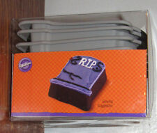 Wilton 6 Pc Silicone CUPCAKE Halloween RIP Tombstone Molds Over the Hill New