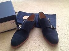 New Alfred Sargent for J.Crew suede double monk strap shoes Navy Blue Sz 9 $525