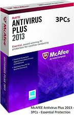 McAFEE Antivirus Plus 2013 - 3PCs - Essential Protection (Software) - NEW ™
