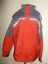 Mens Waterproof Jacket Coat Parka Hooded Sealed Pockets Red Gray sz XL