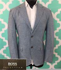 HUGO BOSS Selection Gilbert3 Men's 2 Button Blazer Coat- 40R 100% Wool Blue/Gray