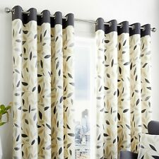 Fusion BEECHWOOD Curtains Ready Made Charcoal Grey Beige Leaf Print Eyelet Ring