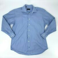 David Donahue Button Up Shirt Men's Size 16 1/2 34/35 Blue Long Sleeve Dress