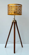 Beautiful floor shade lamp Brown Wooden Tripod Stand Home Decor without shade