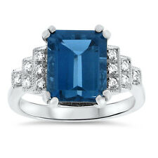 925 Sterling Silver Ring Size 10, #616 4 Ct Genuine London Blue Topaz Art Deco