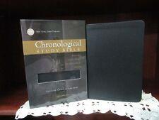 ** NKJV Chronological Study Bible **COWHIDE LEATHER -Black **NEW! r$129.99   681