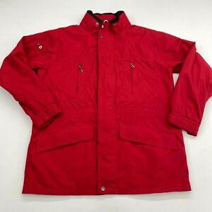 Wellensteyn Golfjacke Coat Men's Large Long Sleeve Red Zip Pocket Removable Hood