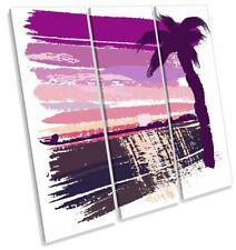 Pink Palmera Playa agudos Lona Pared Arte de Impresión de la obra de arte