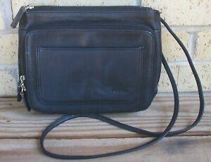 Fossil Black Leather Crossbody Organizer Handbag