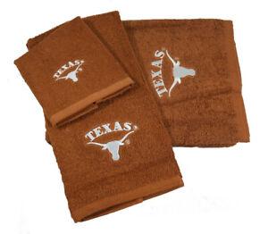 Texas Longhorns UT Logo 3 PC Embroidered Bath Towel Gift Set FREE US SHIPPING
