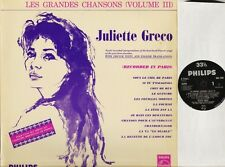 JULIETTE GRECO les grandes chansons volume 3 BBL 7425 uk philips 1960 LP EX/EX