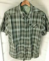 Mountain Hardwear Mens Green Plaid Camp Casual Hike Shirt Button Front Large L
