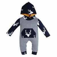 Baby Boy Infant Deer Romper Jumpsuit Bodysuit Hooded Autumn Kids Clothes Outfit