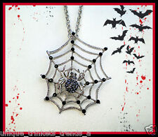 BIG BLACK RHINESTONE CRYSTAL SPIDER WEB SILVER HALLOWEEN GOTHIC NECKLACE PENDANT