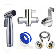 "7/8""t-Valve Set Stainless Steel Handheld Bidet Shattaf Spray Cloth Diaper Toilet"