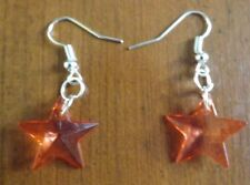 Boucles d'oreilles argentées étoile rouge 19x19 mm