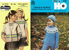 TWO x FAIR ISLE KNITTING PATTERNS FOR CHILDREN - JUMPERS, CARDIGAN, HAT, MITS