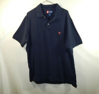 Ralph Lauren Chaps Mens Short Sleeve Polo Golf Shirt Navy Blue Size LARGE L