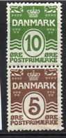 Denmark 10 + 5 Ore Stamps c1930-40 Mounted Mint Hinged (4253)