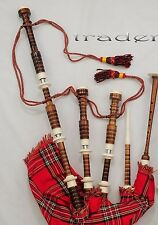 Scottish GHB Bagpipes Full Imitation Ivory Mount Royal Stewart Tartan