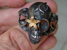 Sterling silver skull ring Sugar Skull 925 24k Gold Handmade LTD Pure Gold .999