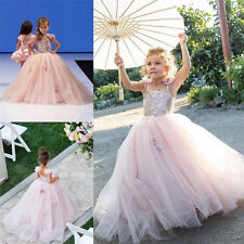 2017 Pink Flower Girl Dress Birthday Party Pageant Dresses Princess Ball Gown
