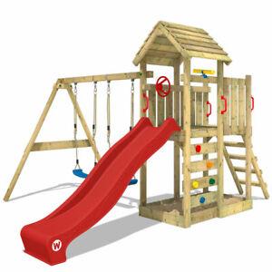 WICKEY Spielturm Klettergerüst MultiFlyer Holzdach mit Schaukel & roter Rutsche