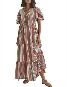 Country Road Seersucker Red Green Stripe Maxi 16 NWT RRP $199