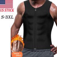 Men Gym Neoprene Sauna Vest Sauna Ultra Sweat Shirt Body Shaper Slimming Tank US