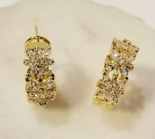 Clear Cz Omega Back Flower Earrings Yellow Gold Plated & 4 Carat