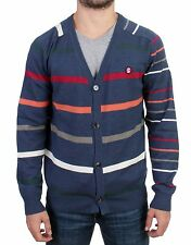 NEW $400 GALLIANO Blue Multicolor Striped Wool Button Down Cardigan Sweater XXL