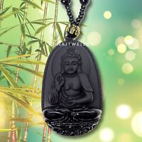 Fearless Protection Amulet Hand Carved Black Obsidian Buddha Pendant Necklace UK