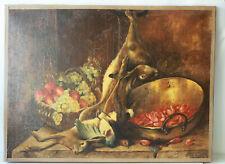 Tableau nature morte aux fruits et gibiers H.S.Tsigné J Moreau