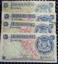 1967-1972 Singapore One Dollar banknote 4pcs, (+ FREE 1 Banknote) #D480