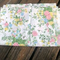 Vtg Lady Pepperell Pink Blue Floral Twin Fitted Sheet 60s 70s Green Yellow 66x96