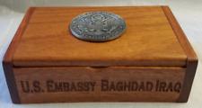 "DOS US Embassy Baghdad Iraq Wooden Business Card Holder w 1.5"" Emblem"