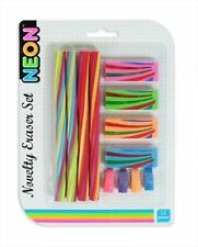 New Kids 12Pc Neon Pencil Eraser Rubber Set School Student Office Stationary