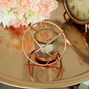 Rose gold copper colour wire metal tealight candle holder vintage shabby chic