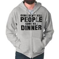 Arms Dont Kill People Dinner Hunting Novelty Zipper Sweat Shirt Zip Sweatshirt